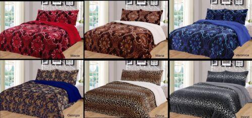 3 Piece Safari Leopard Reversible Warm Flannel Plush Sherpa Borrego Blanket Bedding