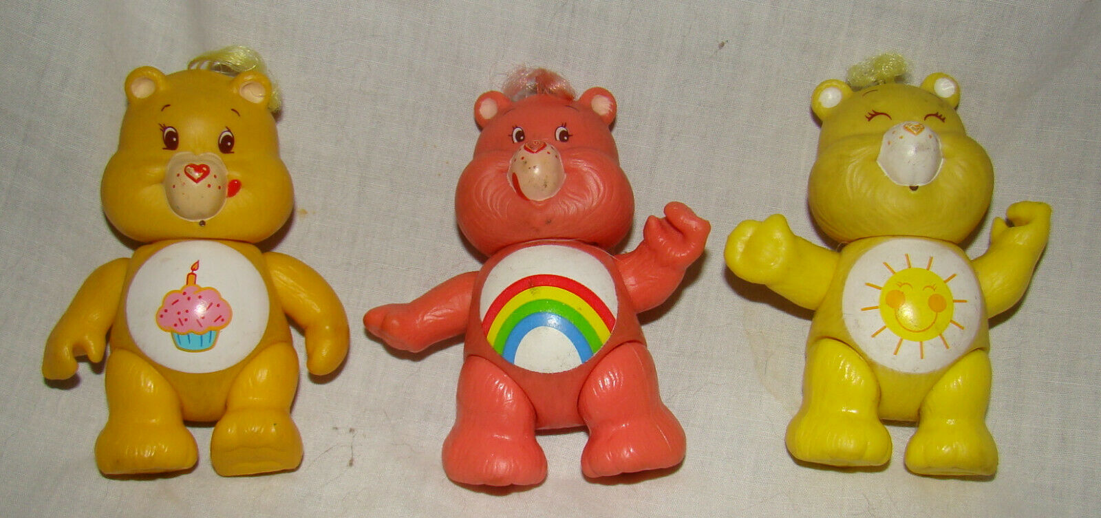 Vtg CARE BEARS Action Figures PVC Soft Plastic Lot 3 Birthday Cheer Funshine - $6.00