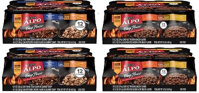 Purina ALPO Chop House Adult Wet Dog Food Variety Pack 48 count 13oz cans w/bowl