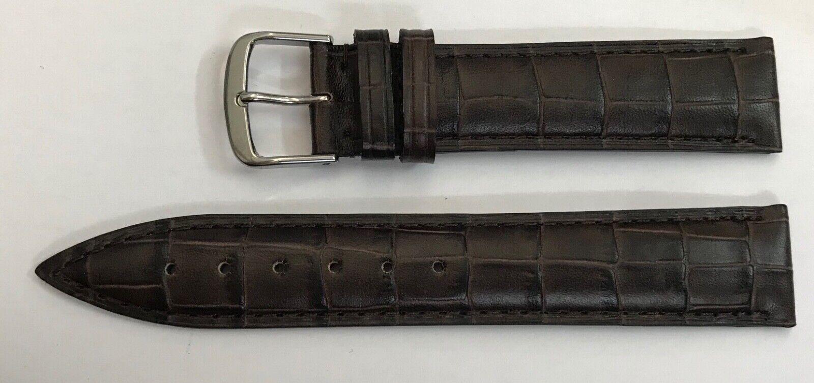18mm Uhrenarmband Frederique Constant Hand made Crococalf braun Dornschließe