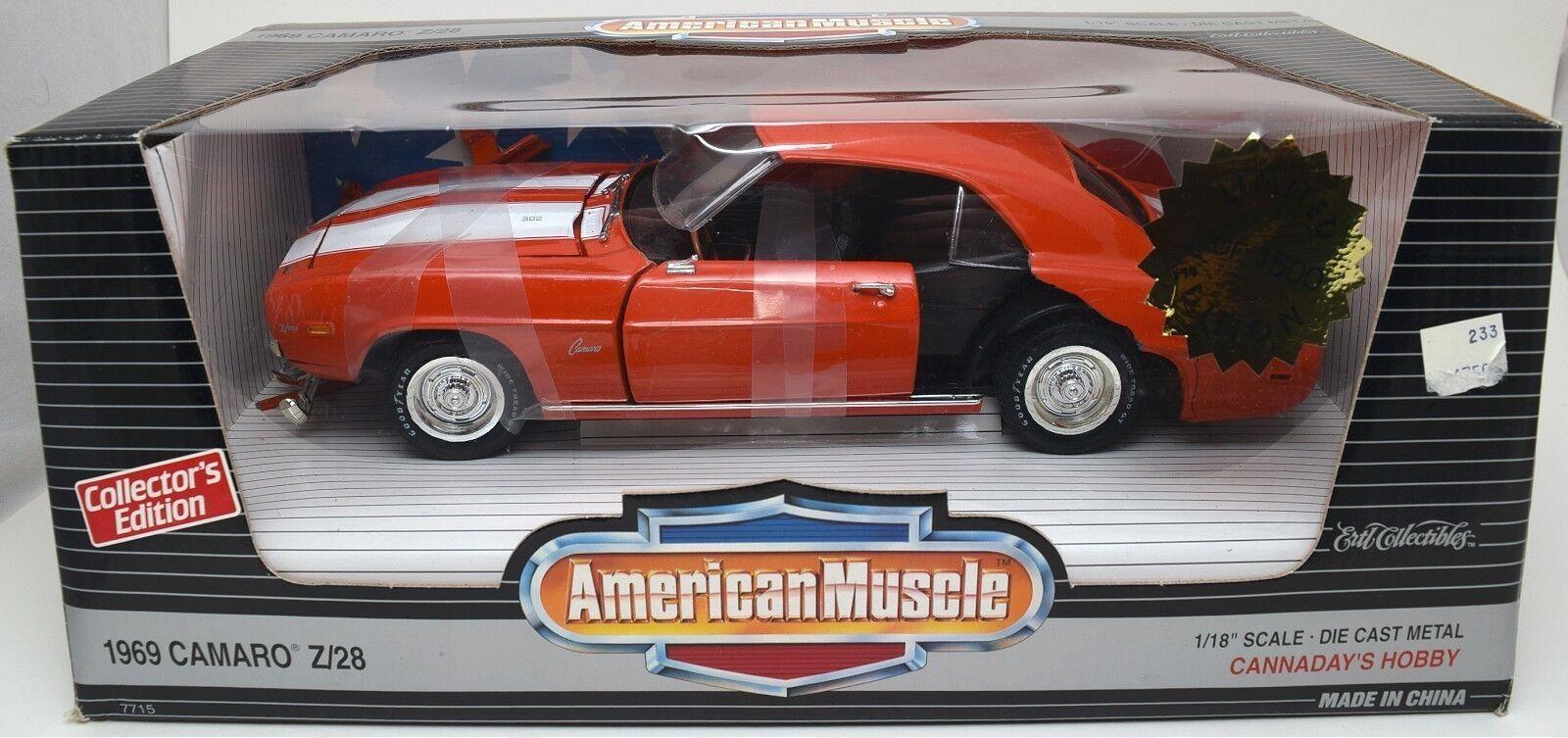 DAMAGED ERTL 1/18 1969 Chevy Camaro Z/28 ORANGE American Muscle ...
