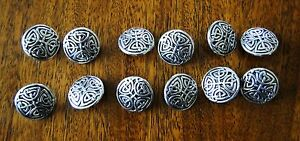 10 NEW INTRICATE CELTIC KNOT DESIGN METAL BUTTONS SILVER 5/8