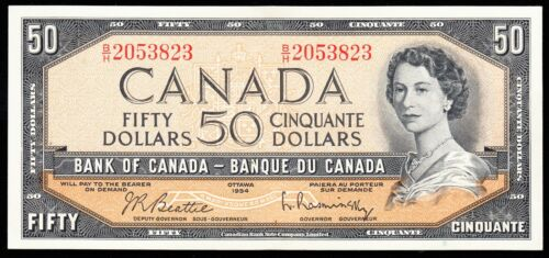 1954 Bank of Canada $50 Note - AU/UNC - Beattie Rasminsky - 2053823 CB34