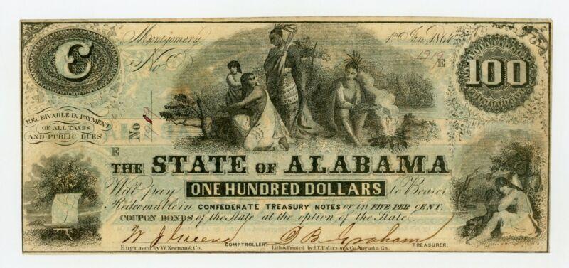 1864 Cr.12 $100 The State of ALABAMA Note - CIVIL WAR Era