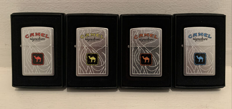 2007 Camel Signature Blends Zippo Set of 4 Sealed Unfired Boxes Cigarettes Rare