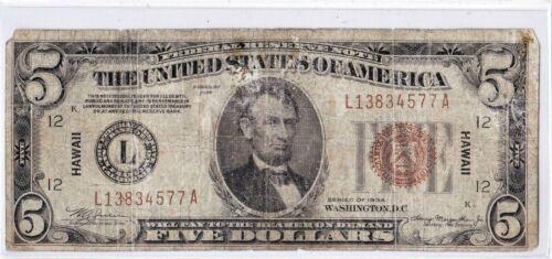 $5 1934 HAWAII HI San Francisco California CA War Time WWII ((RARE Mule Note))
