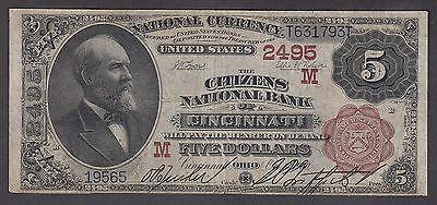 Us 1882  5 Citizens National Bank Of Cincinnati Brown Back Fr 477 Vf   565