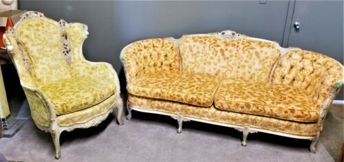EUC! Antique French Louis XV Rococo Hand Carved Velvet Sofa & Wing Back Chair