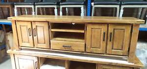 MEDIUM SIZE TV UNIT SOLID PINE DISTRESSED OAK FINISH 2130 LENGTH Thebarton West Torrens Area Preview