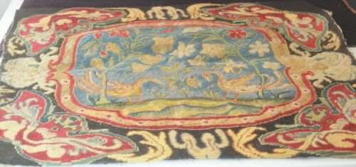 Antique Early 20th Century Large Needlepoint Petit Point - Peacocks VV602