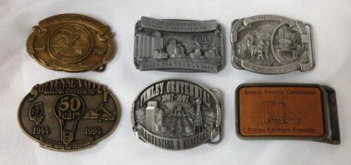 Lot of 6 North Dakota brass belt buckles Finley elevator farm centennial