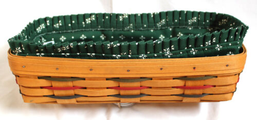 1997 Longaberger  Woven Traditions Basket Colored Stripes, Heritage Green Liner