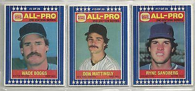 1987 Burger King 20-Card (10-2 card Panel) Baseball Set  Sandberg  Mattingly +++ King Panel Set