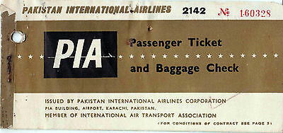 Pia Pakistan International Airline Ticket 1964 Airline Ticket Very Rare