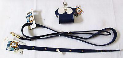 Discontinued Disney Pluto Blue Leather Dog Bag Holder Collar Leash L Lot of 3