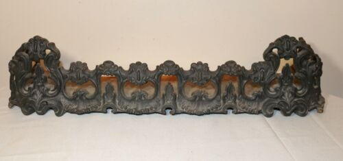 antique ornate Victorian solid cast iron fireplace fire fender grate andiron