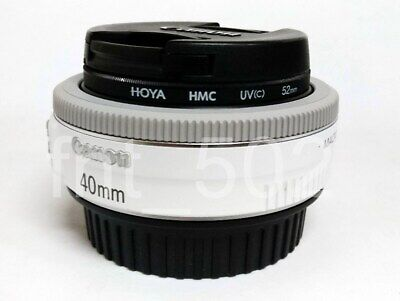 Canon EF 40mm F/2.8 STM Pancake Lens, White including HOYA HMC UV Filter