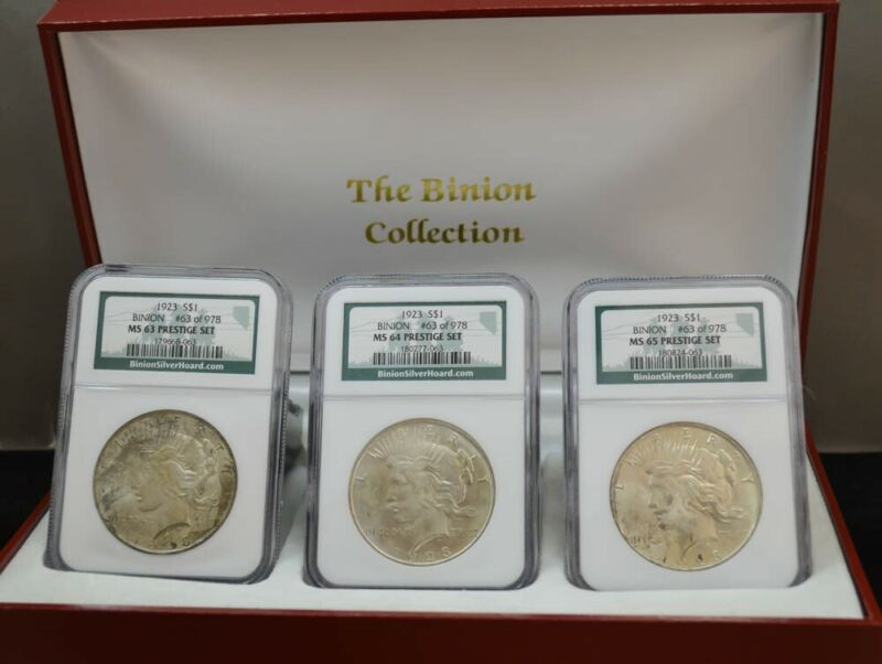 1923 Peace $ Binion Prestige Set Red MS63, 64, 65 NGC, 63 of 978, W/ Box DC-3081