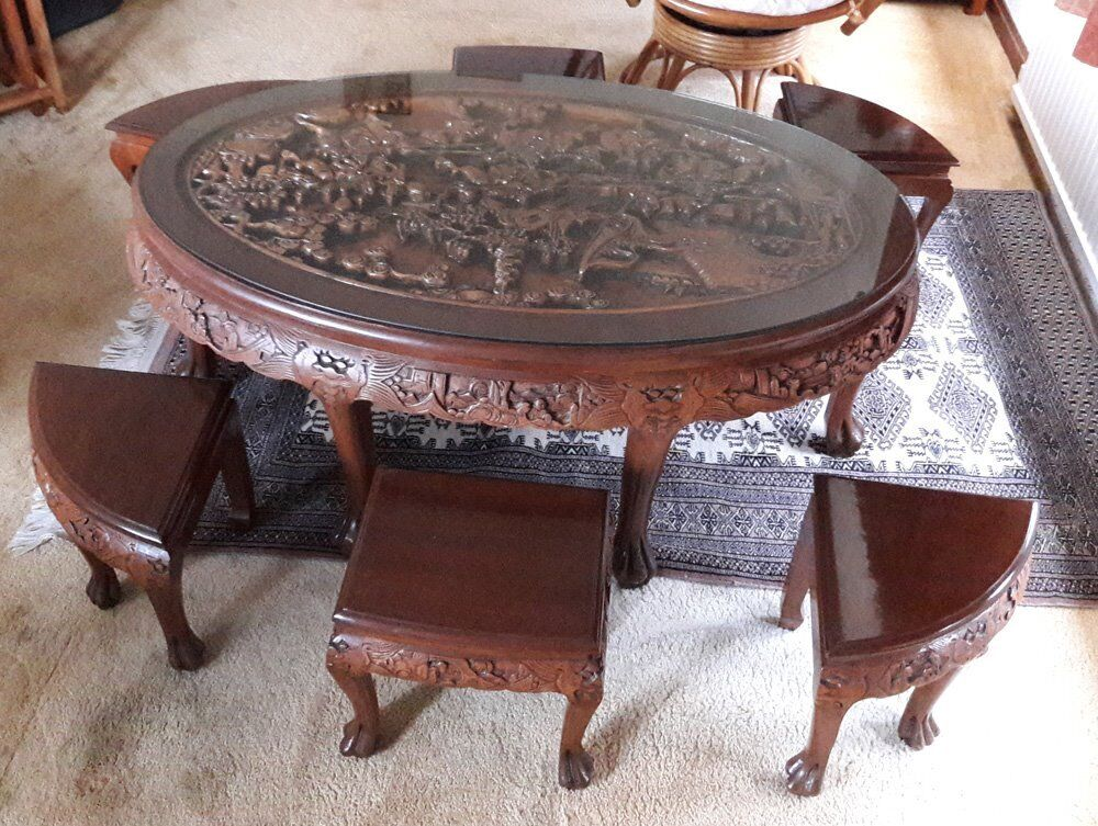 Oriental Chinese Hand Carved Teak Oval Coffee Table With Glass Top And 6 Stools