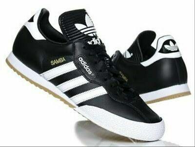 Mens Adidas Originals Samba Super Trainers Leather Casual Shoes Black UK Sizes