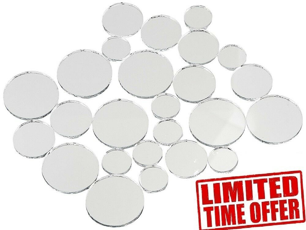 Variable Sizes Mirrors Set 25 Pc Wall Mount Small Round Home