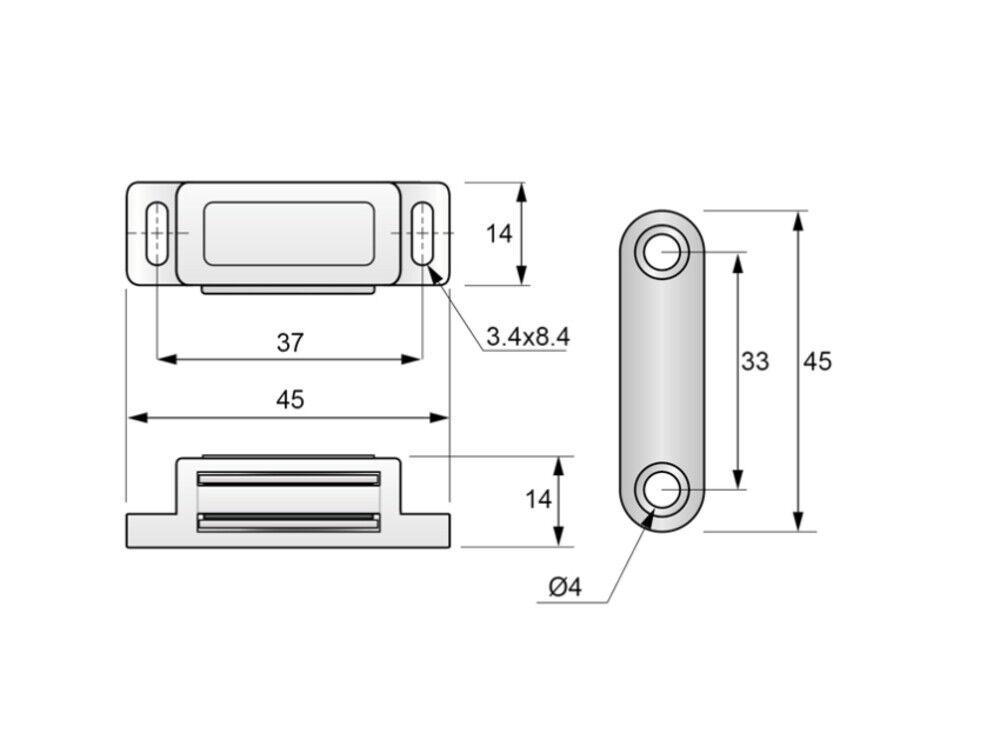 4 Magnetschnäpper schranktür Möbel Magnetschnäpper Möbelbeschlag Braun Weiß