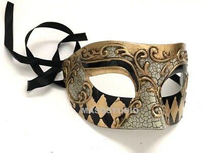 Men Masquerade Eye Mask Harlequin Jester Cosplay Costume Halloween Party