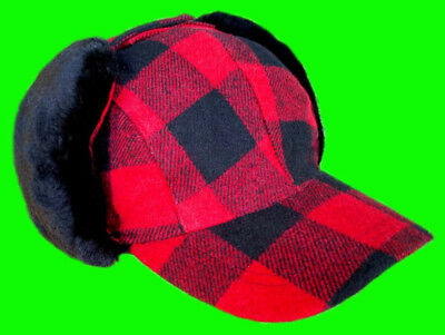 Elmer Fudd Hat Ear Flap Red-Black Wool Buffalo Plaid Check S -M- XL Plaid Hat Earflap