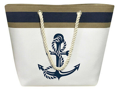 Nautical Color Block Anchor Canvas Tote Beach Shoulder Bag Grocery Pool White