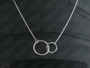 Genuine 925 Sterling Silver Infinity Eternity Love Karma 2 Rings Necklace