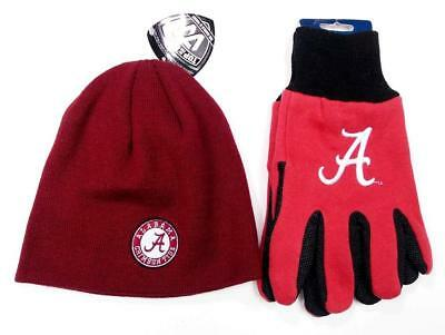 Alabama Crimson Tide Knit Beanie Utility Gloves Winter Holiday Set FAST USA SHIP - Crimson Knit Beanie