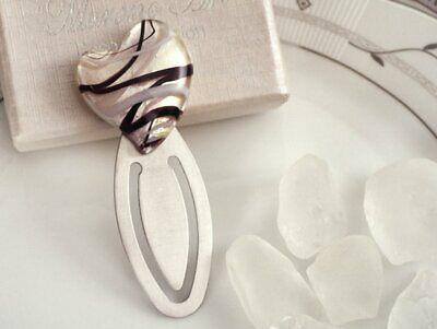 Murano Art Deco Silver and Black Heart design bookmark Wedding Favour