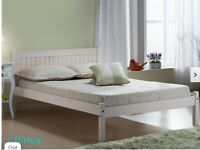 Brand new in box white wooden 4ft double bed frame