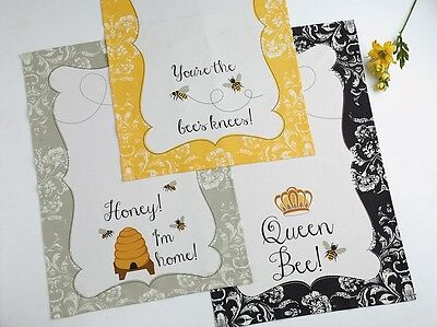 3 Piece Set Busy Bee Lover's Cotton Kitchen Dish Towels 3 Piece Bee Set