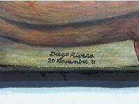 Diego Rivera Original Signed Painting