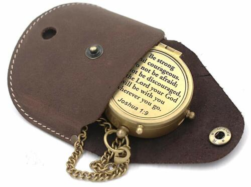 Scripture Engraved Antique Brass Nautical Compass W/Case & Chain Christmas Gift