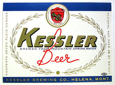 Kessler Brewing KESSLER BEER vintage beer label MT 7oz