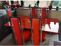 RED GLASS DINING TABLE 6 CHAIRS