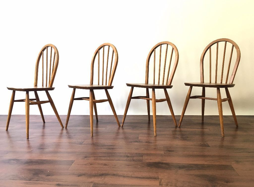 Retro Ercol Spindle Back Chairs Vintage Mid Century Modern