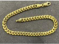 9ct Solid Gold Cuban Bracelet 7.5 Inch, 5mm 💷.