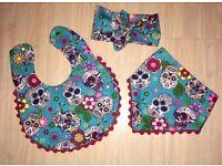 ❤ *NEW* Blue Sugar Skull Bandana Dribble Bib Baby Bib Gift Set ❤ Handmade by Hassi Couture