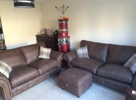 PRICE DROP Dark brown suede sofa set