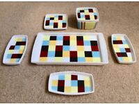 6 Piece Retro Vintage Funky Serving Set Tray Side Dishes Bowls -The Tabletop Company