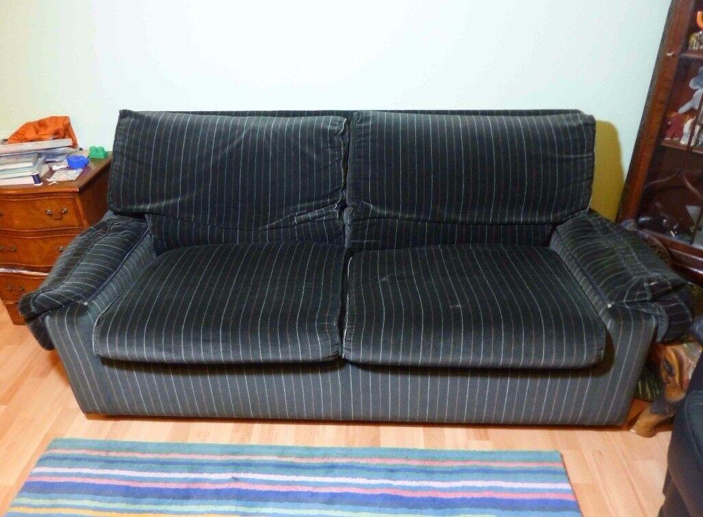 Black velvet Habitat sofa bed
