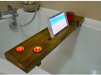 Wooden Bath Tray/Shelf Mother's Day iPad Tablet/candle /wine Holder gift