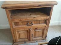 Rustic solid wood TV / stereo cabinet