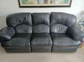 FREE DELIVERY REAL BLACK LEATHER 3 SEATER RECLINER SOFA GOOD CONDITION