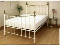 Dreams cream and brass double bed frame