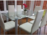 Glass dining table 6 faux leather chairs kitchen dining room new