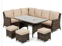 Brand new stunning maze rattan corner sofa with 3 foot stools and cushions